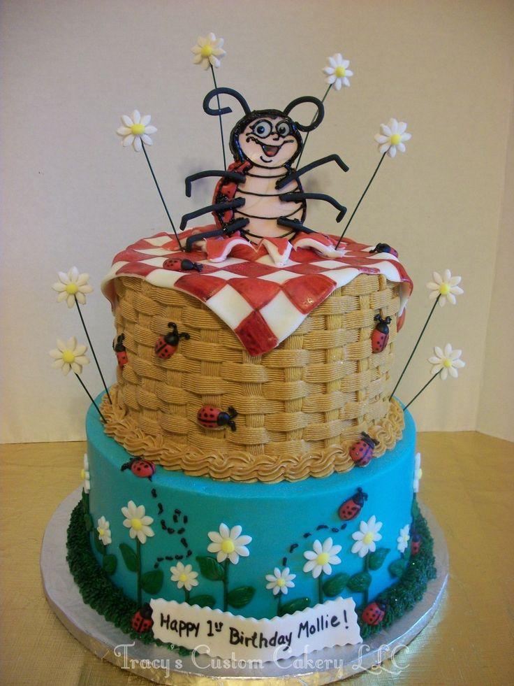 Ladybug Picnic 1st Birthday Cake