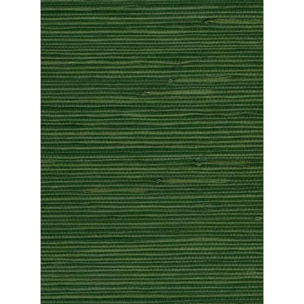 Jute Grasscloth Wallpaper In Dark Green From The Natural