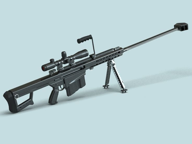 Barrett M82 Sniper Rifle 3D Model- 3D model of Barrett M82 Sniper Rifle.  Final images rendered with vray.  This model is available here in .3ds, .fbx, .max v 2009, and .obj formats.  - #3D_model #Rifle