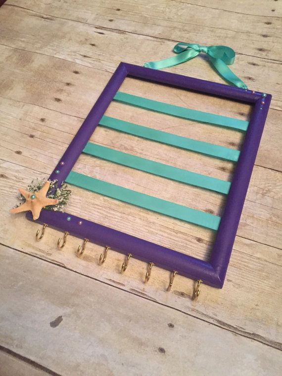 Purple and Teal hair bow holder Mermaid by NoribeesCrafties
