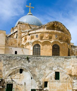Church of the Holy Sepulchre, Jerusalem. Built above the location of the crucifixion and resurrection of Jesus.