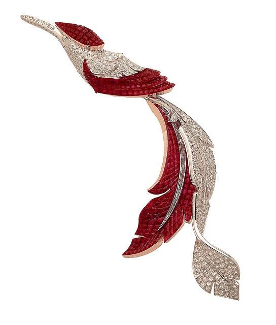 Van Cleef & Arpels Diamond & Ruby feather brooch
