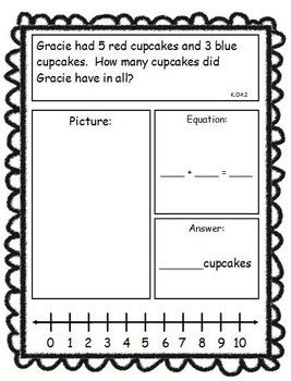 ADDITION AND SUBTRACTION STORY PROBLEMS, KINDERGARTEN VERSION, C. CORE ALIGNED - TeachersPayTeachers.com