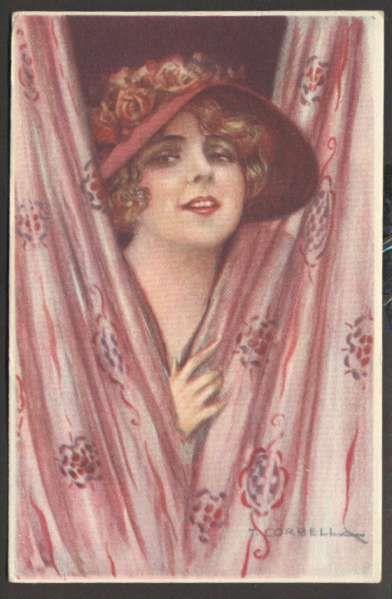 Art Corbella Beautiful Woman w Hat Italy Postcard #355-2