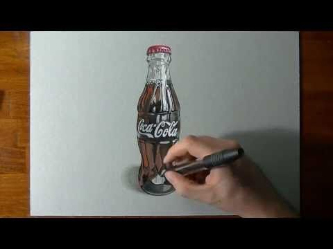 Drawing a Coca-Cola contour bottle, Materials used:  pasteboard (vegetal paper - light gray) 35x25 cm 1,5 mm, 9B, 7B and B pencils, paper stomp, colored pencils, fibre tip pens (Staedtler Noris Club 320 Double Ended Fibre Tip Pens), markers (Tria Letraset), pens (Pitt artist pen Faber-Castell and Stabilo Felt Tip), black and white acrylic (Decoart and Pebeo), white gel pen (Pentel Hybrid Gel Grip k118-LW), brush tapered polyamid