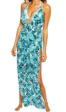 AIYUE Abito Maxi Donna Vestito da Mare Spiaggia Copricostume Parei Costume da Bagno Cover-up Scollado-V Chiffon Allentato