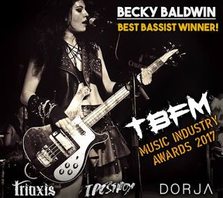Becky Baldwin: wins TBFM Internet Radio Best Bassist award! Congratulations!   Triaxis More great news: This weekend our bassist Becky Baldwin Bass won a TBFM Internet Radio award. Thank you TBFM judges and all the public voters we are very proud!  with Becky Baldwin Bass andBecky Baldwin. Becky Baldwin