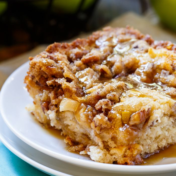 Apple Crisp Coffee Cake With pecans and apple cider glaze  - Spicy Southern Kitchen