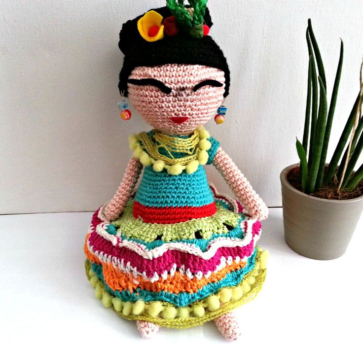 Isn't she cool? Frida Kahlo Crocheted Doll