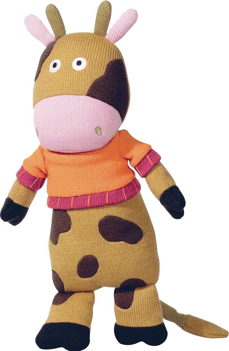 Mona la vache des personnages de la Wooly Family par Latitude Enfant. Jouet ludique. Doudou d'éveil. Produit de puériculture.