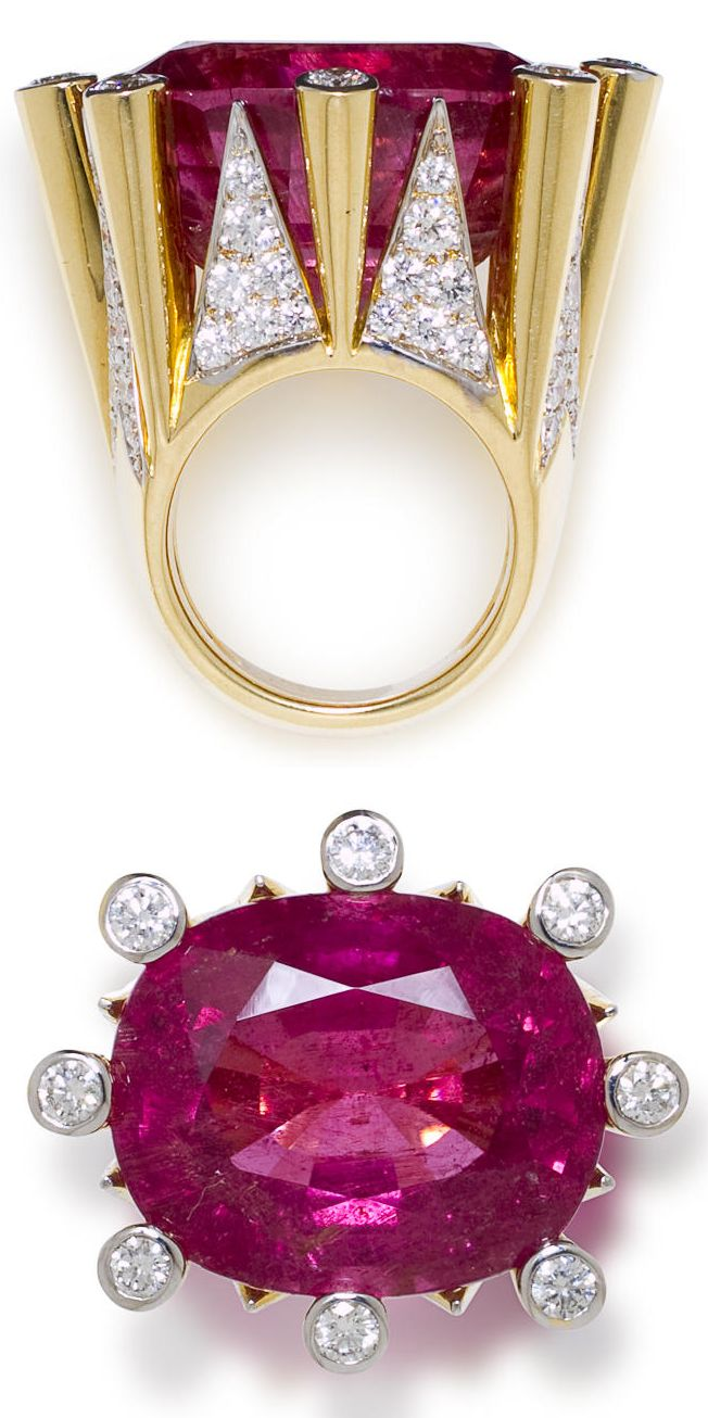 A pink tourmaline and diamond ring signed by Tony Duquette.  Pink tourmaline weighting approximately 57.00 carats, estimated total diamond weight 4.20 carats, mounted in 18k gold.  Via Bonhams.  (=)