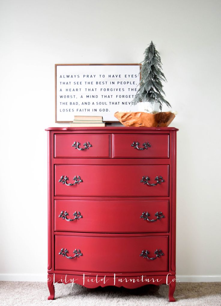A red dresser can make a huge statement in your decorating! Follow along to learn exactly how you can create your own gorgeous red dresser!