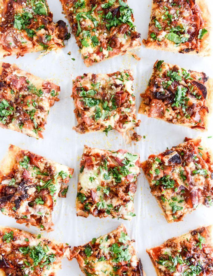 meat lovers pizza I howsweeteats.com