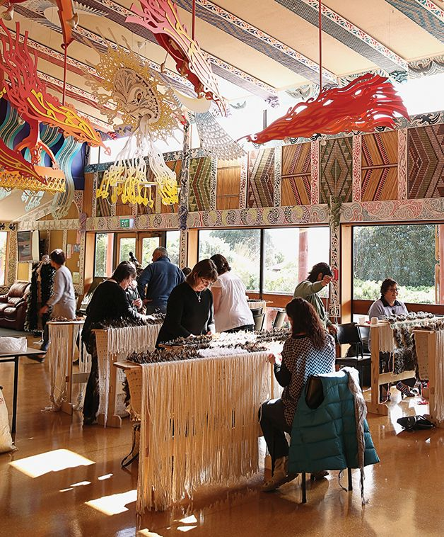 The first thing I noticed when I arrived at Te Rau Aroha Marae on a foggy Friday evening in early August was the buzz that emanated throughout the whare. Wāhine moved back and forth throughout the space, setting up their looms, preparing the feathers for their korowai and admiring one another's progress since they last gathered together.