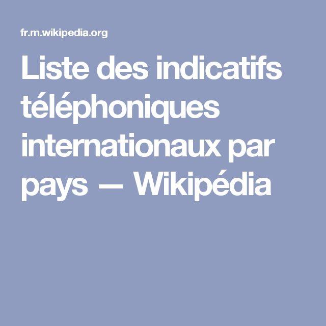 Liste des indicatifs téléphoniques internationaux par pays — Wikipédia