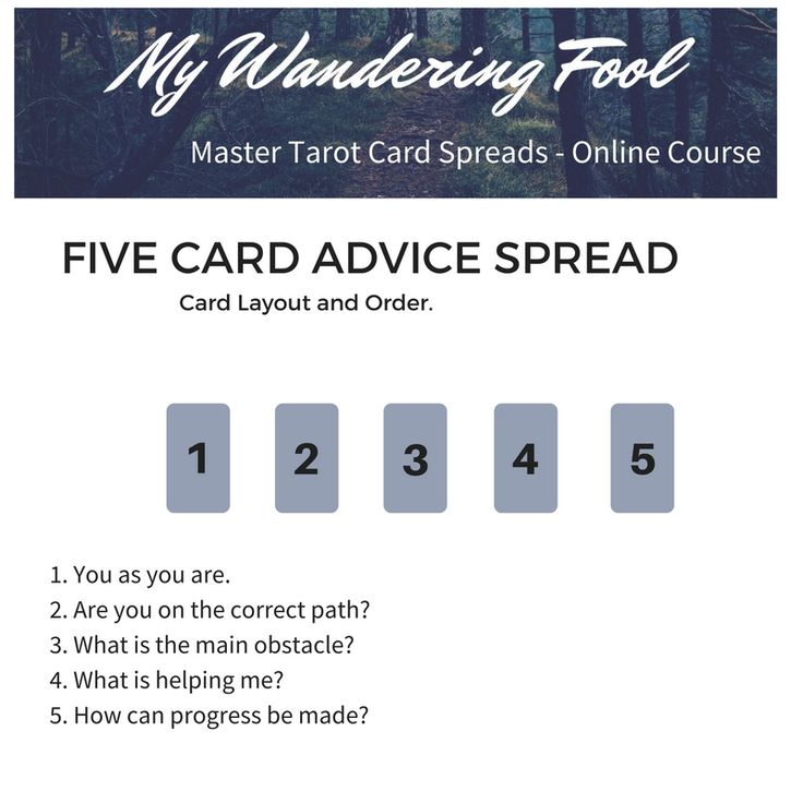 Five Card Advice Spread featured in the Master Tarot Card Spreads Online course by Tiffany Joseph @mywanderingfool