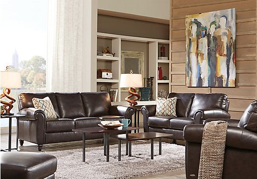 Shop for a cindy crawford home lusso coffee bean 3 pc for Cindy crawford living room furniture