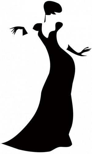 PublicDomainVectors.org-Black silhouette vector clip art of a mysterious woman. Drawing of faceless lady posing in black dress.