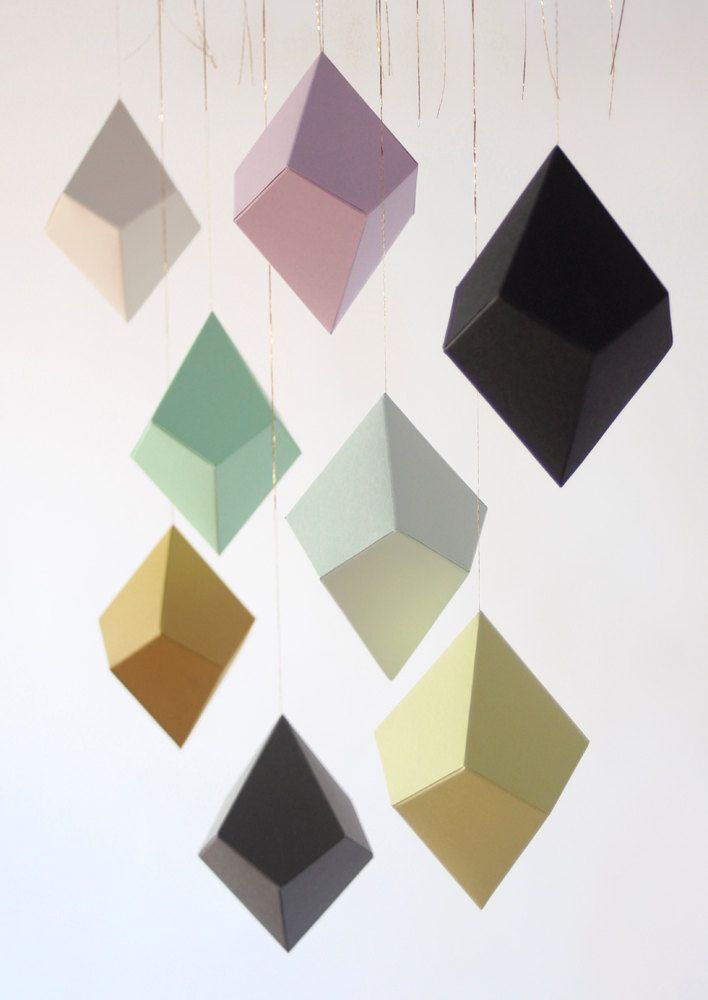DIY Geometric Paper Ornaments - Set of 8 Paper Polyhedra Templates - Classic Palette. $25.00, via Etsy.