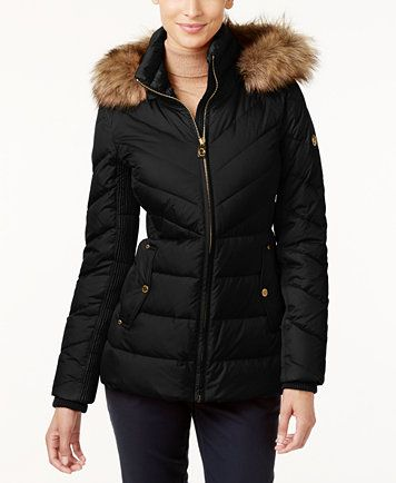 MICHAEL Michael Kors Faux-Fur-Trim Hooded Puffer Coat | macys.com