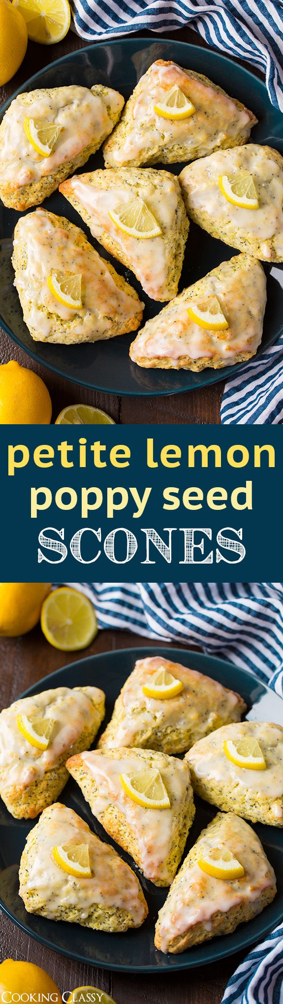 Petite Lemon Poppy Seed Scones - tastes just like a lemon poppy seed muffin but in scone form! Seriously delicious!