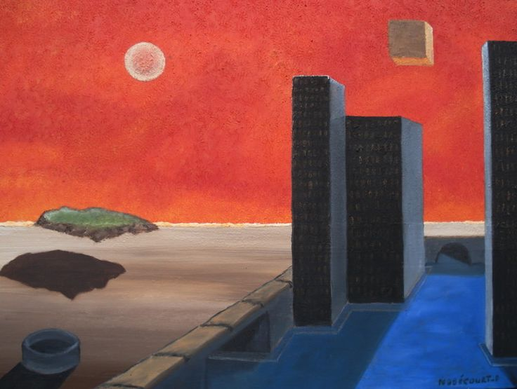 Espace;cube (Peinture),  70x50 cm par Daniel Nobécourt Oeuvre;représentent;un;paysage;futuriste;avec;des;tours;et un cube;dans l'espace