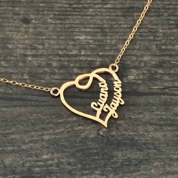 couple name necklace gold