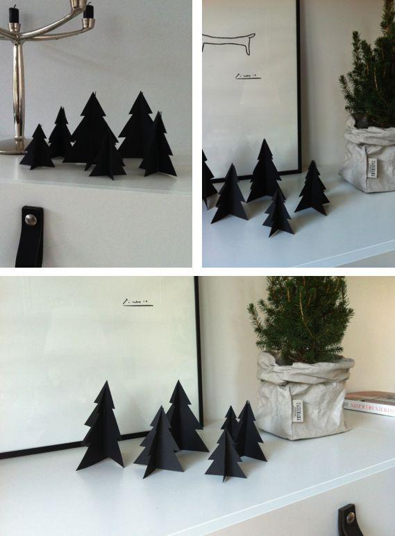 Christmas, DIY decoration, black paper trees