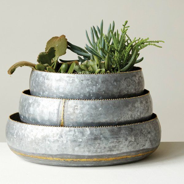 You'll love the Havana 3-Piece Galvanized Iron Pot Planter Set at Wayfair - Great Deals on all Outdoor products with Free Shipping on most stuff, even the big stuff.