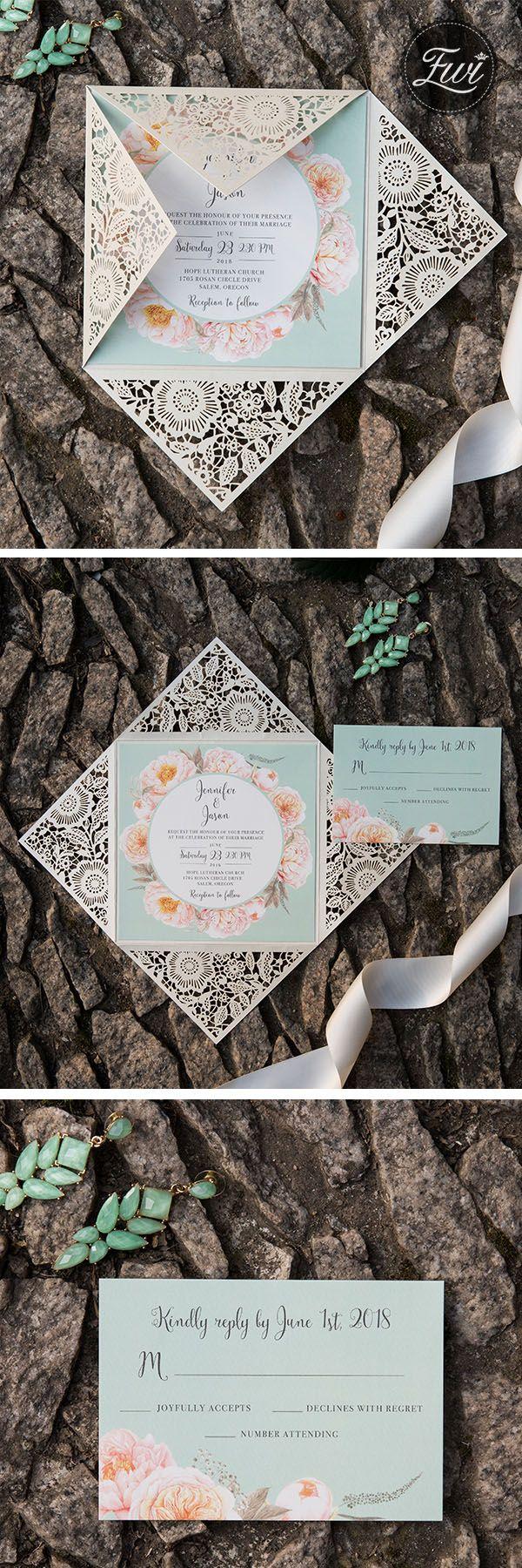 lace wedding invitation wrap%0A elegant and fresh mint green and peach floral laser cut wedding invitations  EWDK