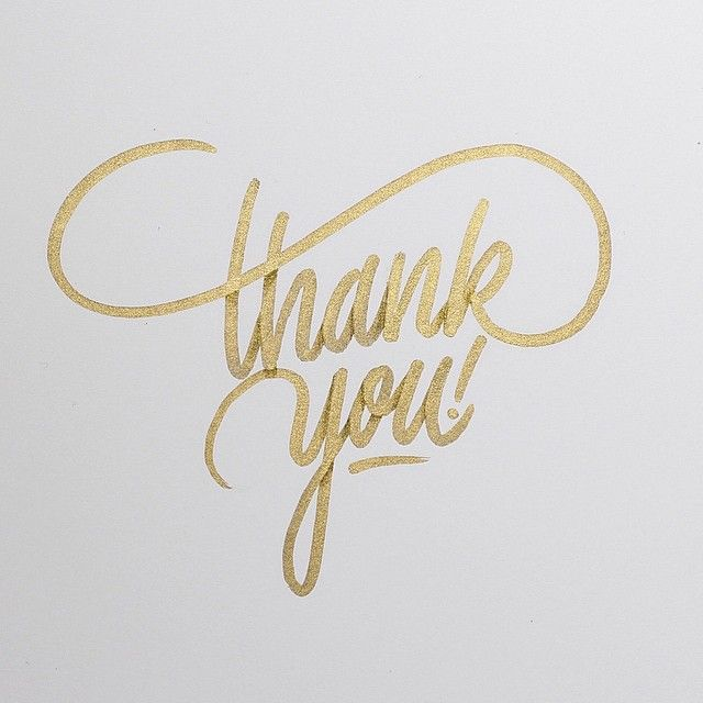 thank you gold lettering