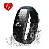 Fitness Tracker Watch Runme Activity Tracker with Heart Rate Monitor Bluetooth Pedometer with Sleep Monitor IP67 Water Resistant Smart Watch Bracelet Wristband with Call/SMS Remind for iOS Android Smartphone