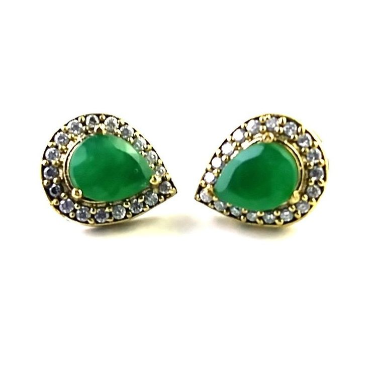 TURKISH OTTOMAN JEWELRY STERLING SILVER 925 LAB CREATED EMERALD EAR STUD TOPS #SilvexStore #Stud