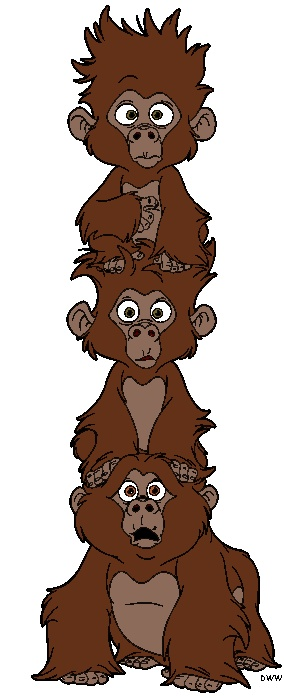 Baby Gorillas from Tarzan :) Pretty sure this would be incredibly cute on baby room wall! Ambe you could add a bow for a girl or baseball hat for a boy to the top one to personalize it!