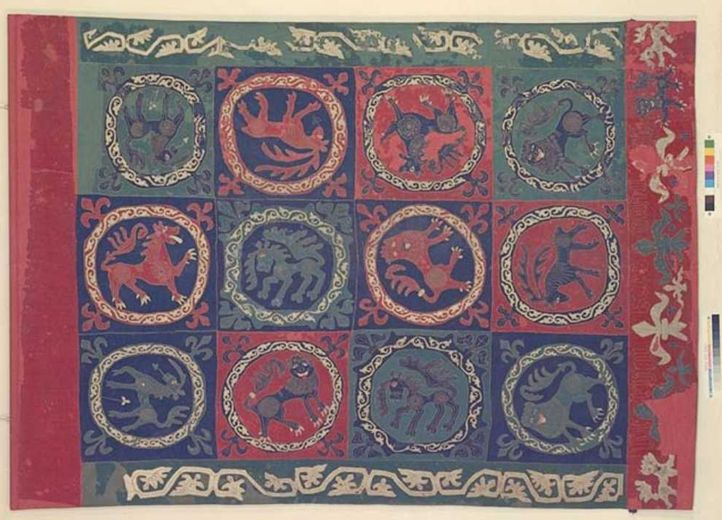 About intarsia fabric held in the swedish historika