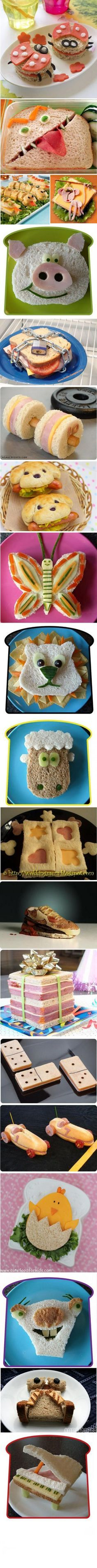 Découvrez 18 manières de préparer un sandwich.Des idées de sandwichs originaux, des sandwichs représentants n'importe quel objet ou animal.