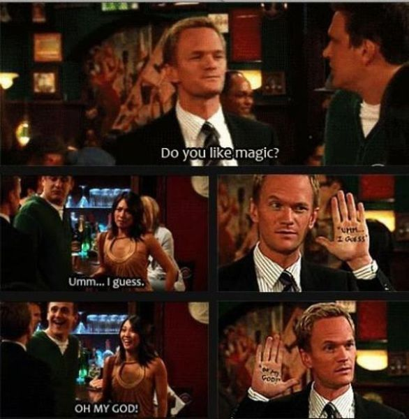One of Barney's best pick up lines... our actors only wish they were this cool. #HIMYM #cheesy #CATCOisCabaret