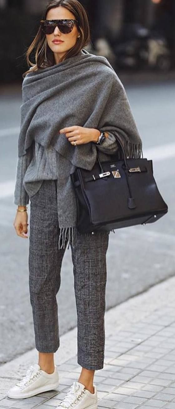 50 shades of gray fall outfit with sneakers...and a Birkin #fall #outfits grey scarf pants sneakers