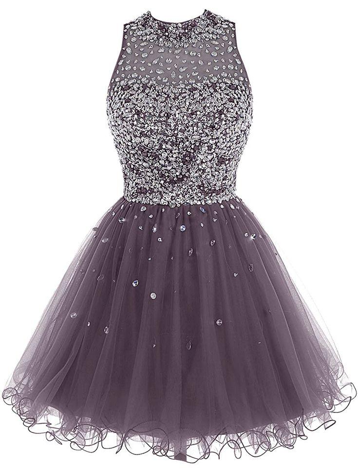 Short Tulle Beading Homecoming Dress Prom Gown, Rhinestones Beaded Short Prom Dress, Gray Tulle Prom Dress, 8th Grade Graduation Dresses, Homecoming Dance Dress, Royal Blue Homecoming Dress