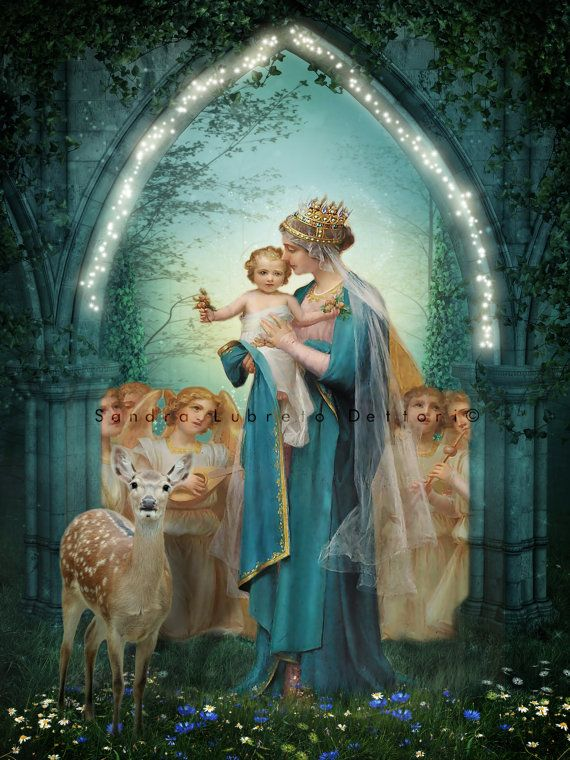 Our Lady of the Angels Catholic Art Print by by ThreeArchangels