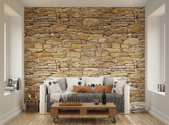 Photo Wallpaper Wall Murals Dry Stone Wall Rustic Wall Decals Decor Living Room Home Design Wall Art Decals XL 47