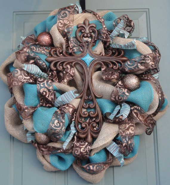 Cross Wreath Religious Wreath Easter Wreath Turquoise Burlap Wreath on Etsy, $110.00