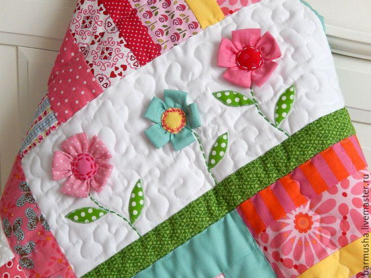"""Купить Лоскутное детское покрывало (одеяло) """"Соберу я корзинку цветов""""…"""