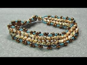 ▶ Herringbone Bracelet With Superduo Beads - YouTube