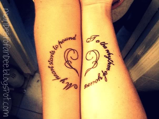 "Love husband & wife tattoos read ""My heart starts to pound"" and his says ""to the rhythm of yours."" placed on our inner forearms, the quotes are lyrics from Silverstein's ""Still Dreaming."""