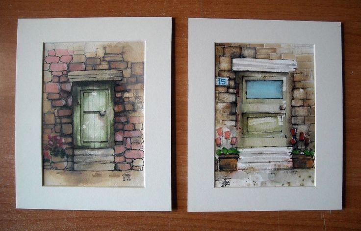 Porte - Doors - Gianluigi Punzo - Naples - Napoli - Italy - Italia - Watercolor - Acquerello - Aquarelle - Acuarela