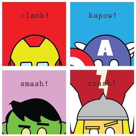 "Avengers Hero Squares - 4 Original 8.5"" x 8.5"" Marvel Comics Captain America, Thor, Iron Man and Hulk print"