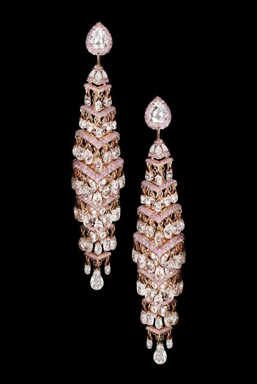 #David Morris  earrings; drops of pink diamonds.