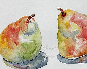 Pear Painting, Watercolor Painting, Original Watercolor, Kitchen Wall Art, Unique Housewarming Gift, Fruit Watercolor