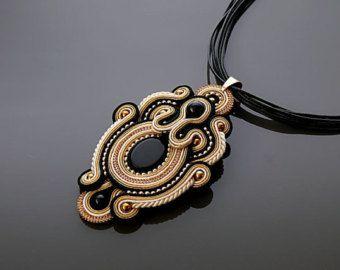 Beige gold black Soutache necklace with Onyx. от ANBijou на Etsy
